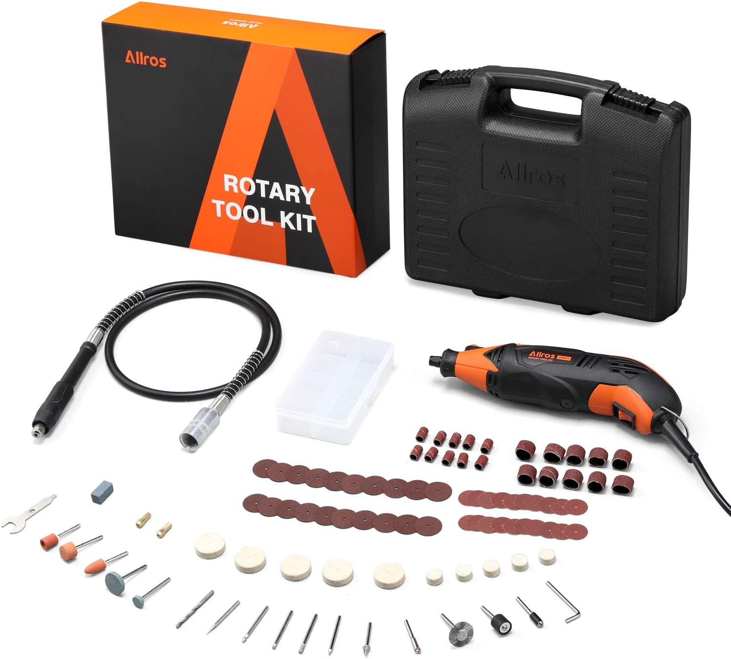 ALLROS 170W Rotary Tool Kit 6 Variable Speed Levels with Flex Shaft, 100pcs Accessories and Carrying Case Multi-functional for Home Crafting Projects, Cutting, Detail Sanding, Engraving, Wood Carving