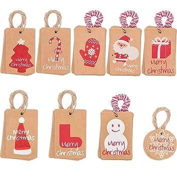 Etiketten Frohe Weihnachten.90 Stück Weihnachten Geschenk Tags Papier Tags Hängen Etiketten Mit String 100 Count 9 Designs Für Frohe Weihnachten Holiday Gift Taschen Party