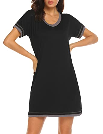 Ekouaer Sleepwear Women s V Neck Nightshirt Cotton Casual Sleepwear Short Sleeve  Nightgown S-XXL c4a473020