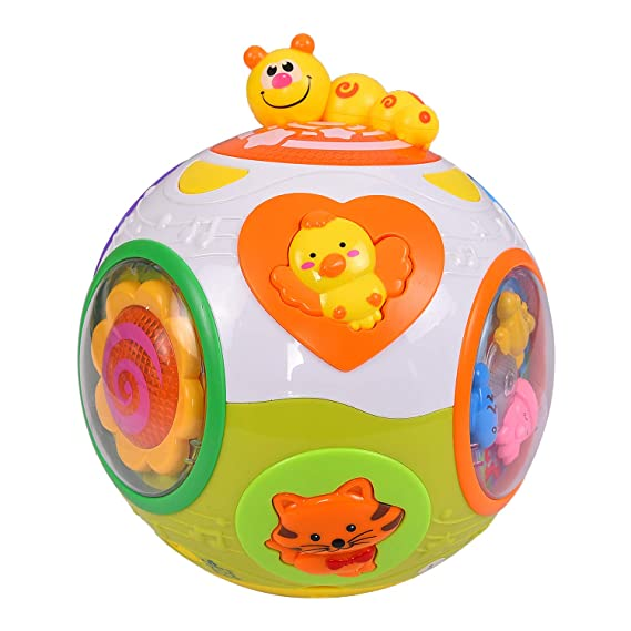 Smartcraft Educational Toddlers Musical Ball Toy with Automatic Rotation, Lights, Music, Animals Sounds Toys , Excellent Gift for 1 Year Old Baby