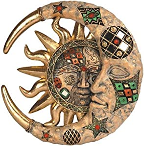 StealStreet SS-G-63069 Tan Cracked Mosaic Crescent Moon and Sun Wall Plaque Decoration
