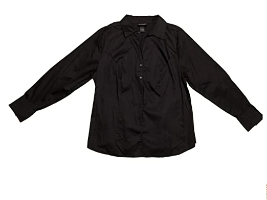 1ee403411a7 Image Unavailable. Image not available for. Color  Lane Bryant Women s Long  Sleeve Button Front Shirt 14 Black