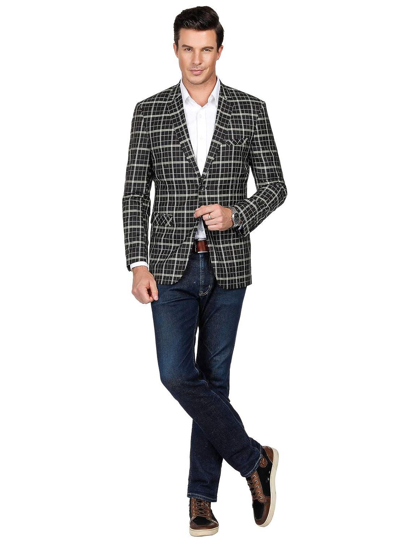 PAUL JONES Mens Casual Plaid Suit Jacket Slim Fit Notch Lapel Blazer Coat