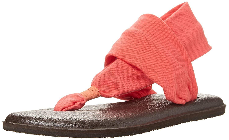 Sanuk Women's Yoga Sling 2 Prints America Rain Sanda (39 M EU / 8 B(M) US, Coral)