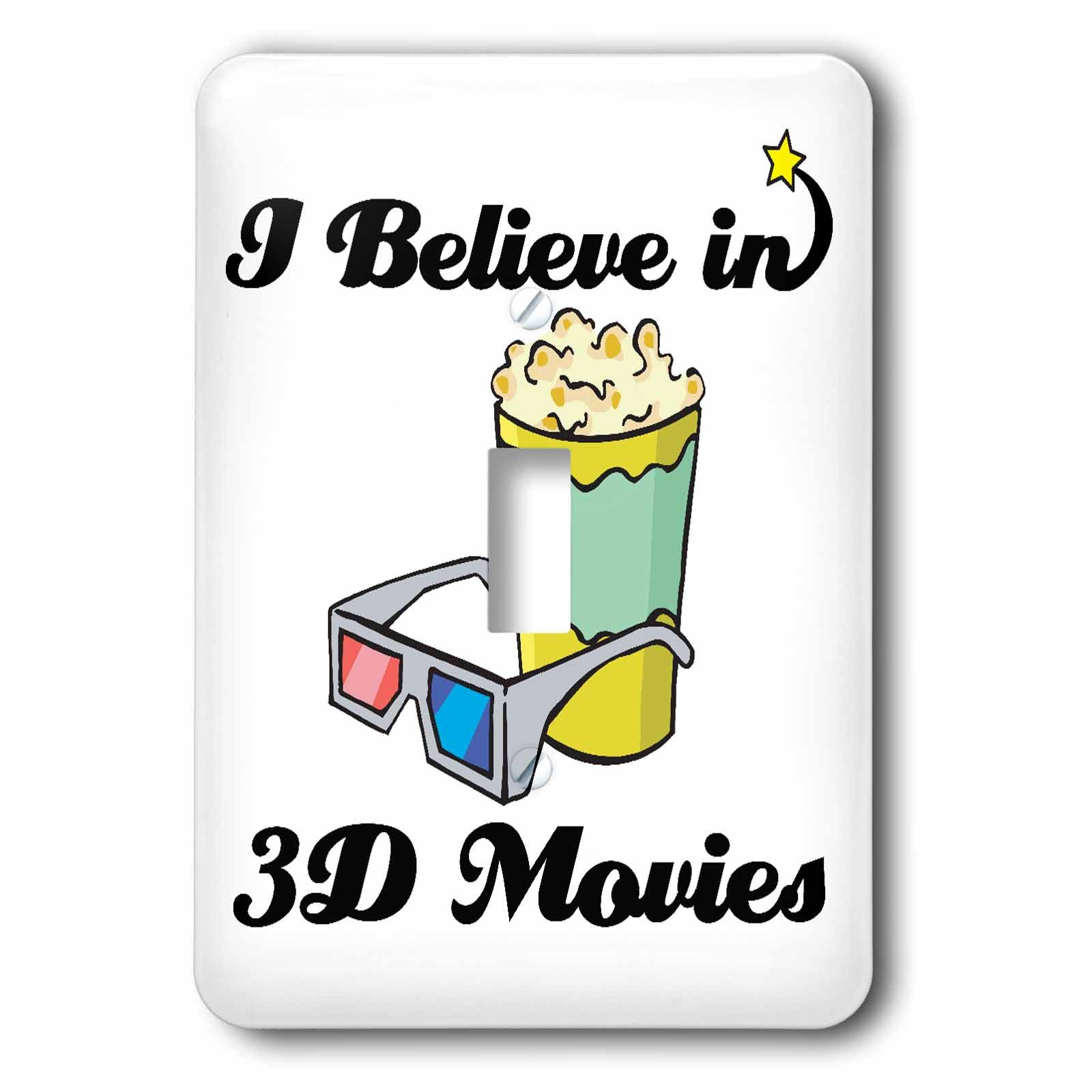 3dRose LLC lsp_104702_1 I Believe In 3D Movies Single Toggle Switch