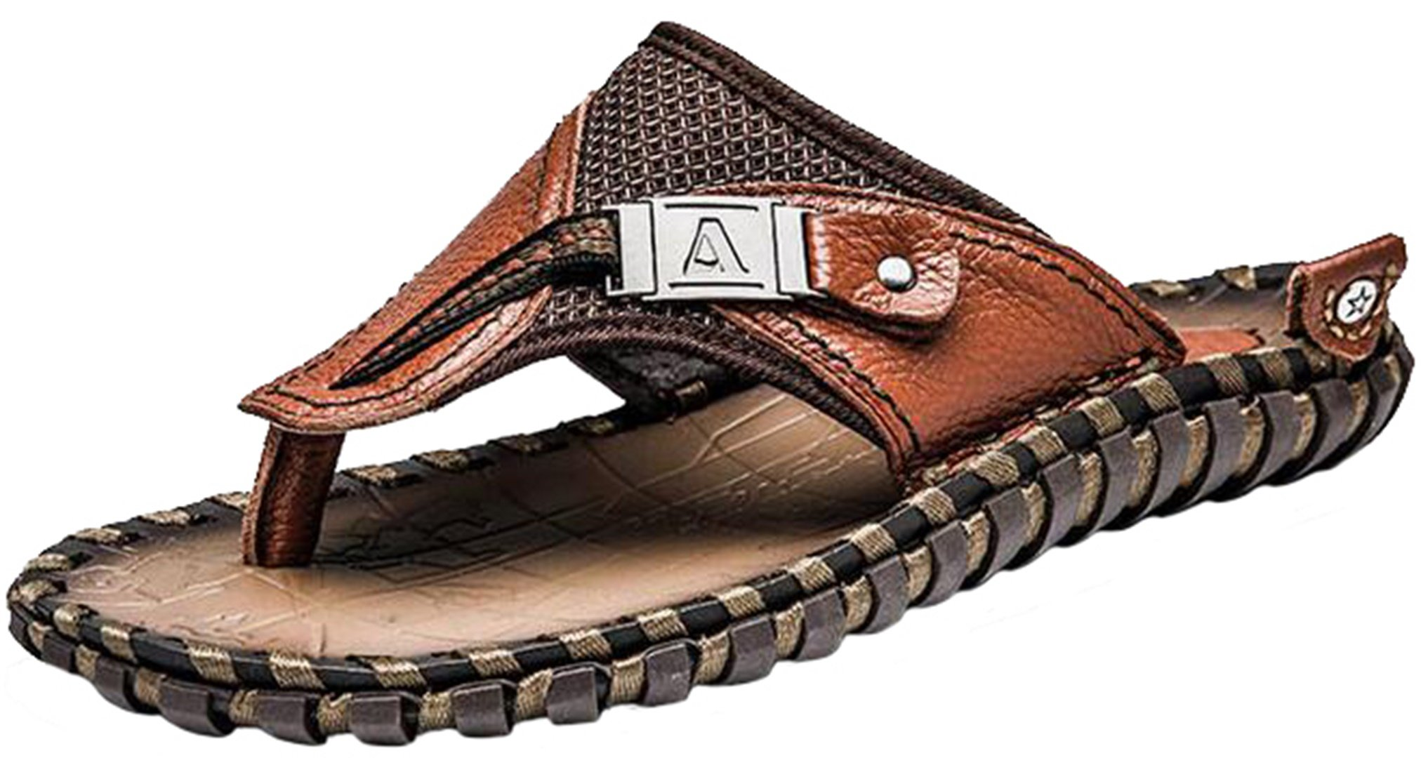 PPXID Men's Leather Flip-Flop Arch Support Thongs Comfort Slippers for Beach(Big Size Available)-Brown 10 US Size