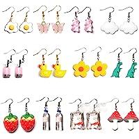 1-12 Pairs Funny Earrings Rubber Duck Gummy Bear Goldfish Water Bottle Strawberry Mushroom Boba Tea Butterfly Cloud…