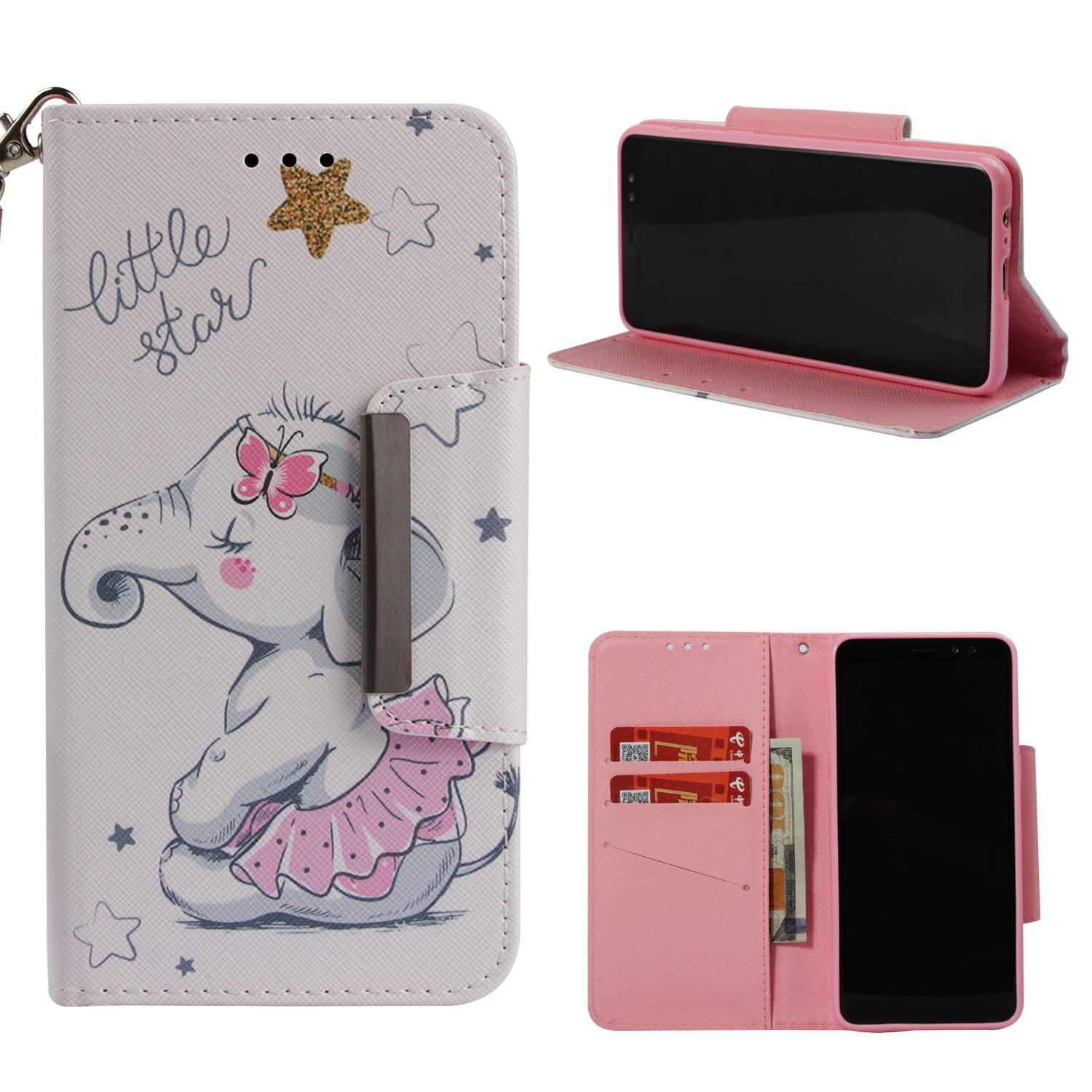 Leather Wallet Case for Samsung Galaxy A8 2018,Shinyzone Cute Cartoon Animal Elephant Painted Pattern Flip Stand Case,Wristlet & Metal Magnetic Closure Protective Cover