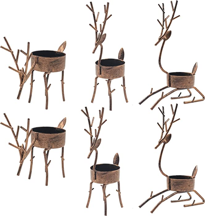 Funpeny Reindeer Tea Light Candle Holders, 6 Pack Iron Christmas Decoration for Party Dining Table Decorative