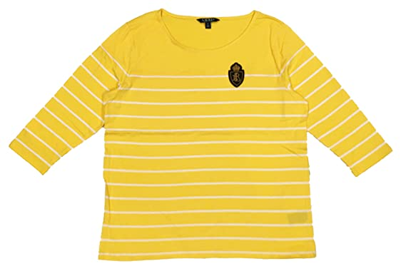 c79194f65 LAUREN RALPH LAUREN Plus Size Crest Striped Jersey Top at Amazon Women's  Clothing store: