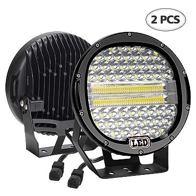 LED Light Bar,2PCS BEAMCORN 9 inch 384W Flood Spot Combo Led Round Driving Lights Headlamp Headlight Off Road Lights for Jeep Wrangler Truck SUV Tractor Trailer ATV 4X4 Black: Automotive