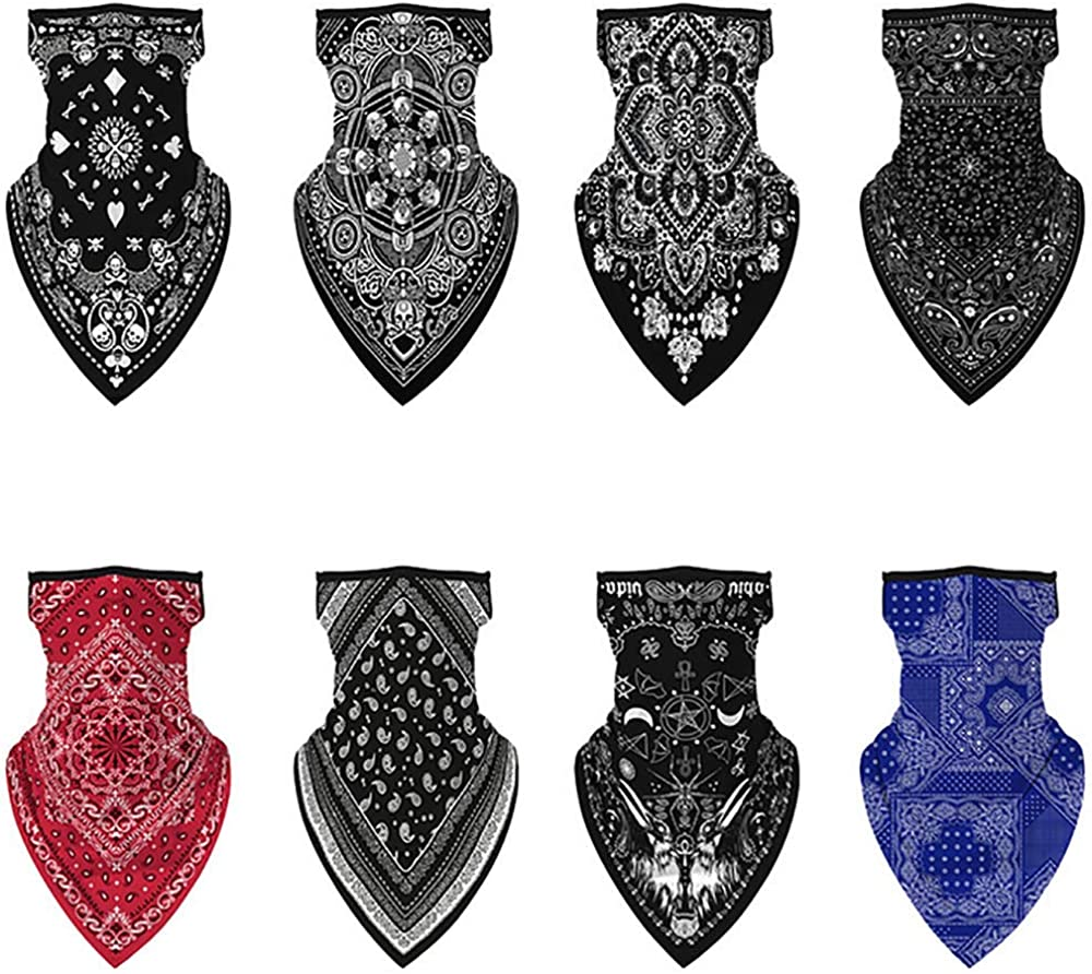 8 Pack Bandanas face mask Bike Magic Scarf Outdoor Headwear Sports Tube UV Face Mask Bandana for Men Women Workout