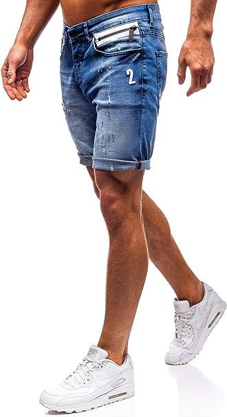 BOLF Hombre Pantalón Corto Vequero Denim Regular Pantalón de ...