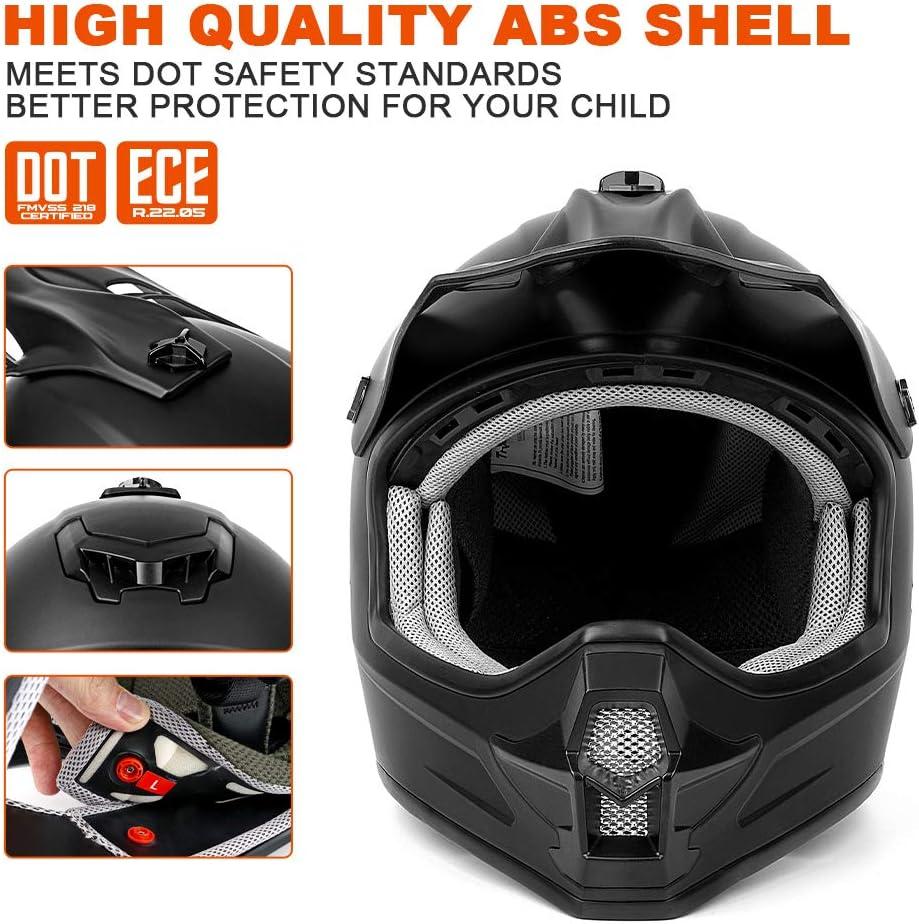 Motocross Youth Kids Helmet Motorcycle Helmet Dirt Bike Motocross ATV Helmet DOT Approved Offroad Street Helmet Matte Black