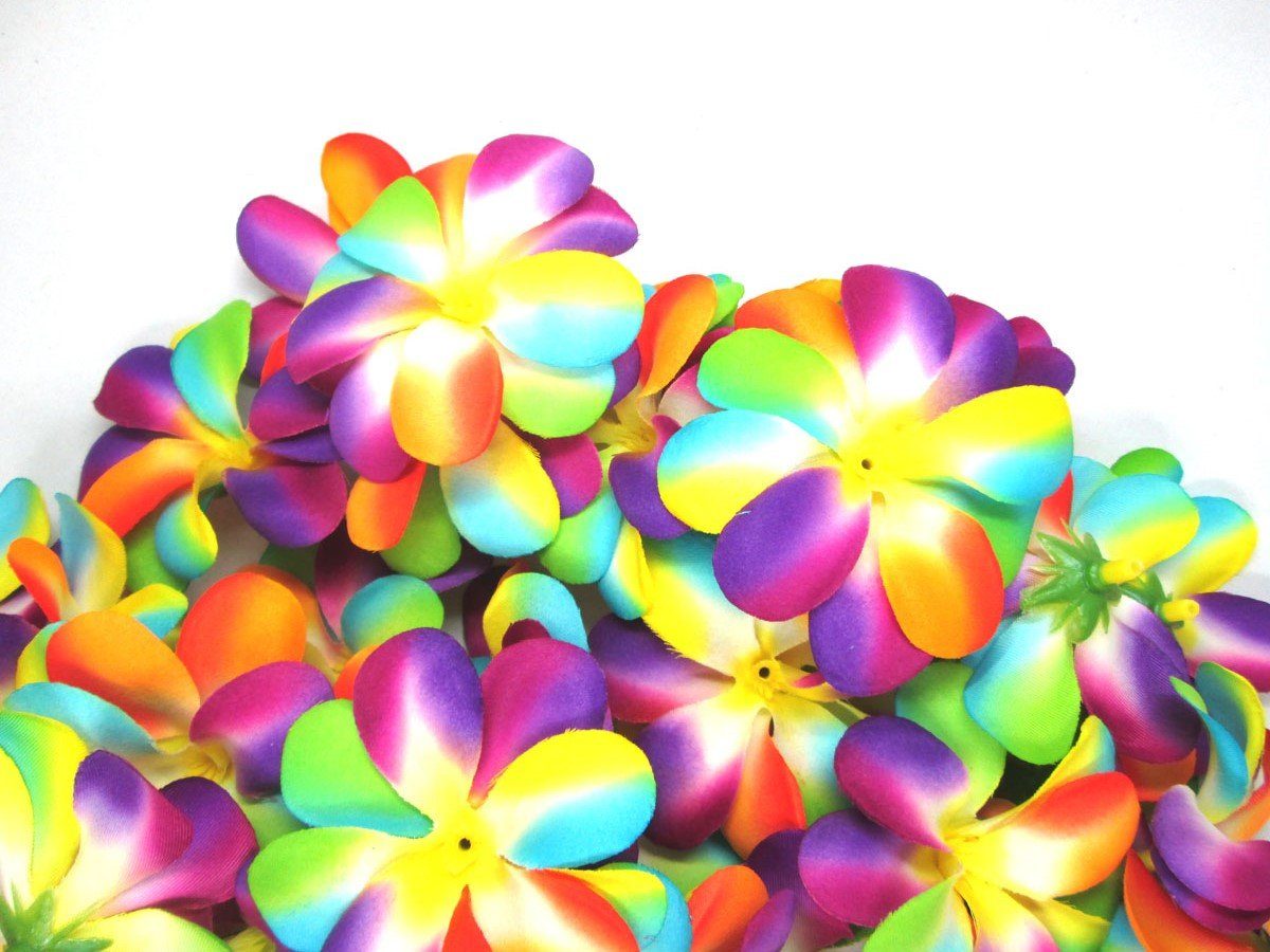 Amazon 100 rainbow hawaiian plumeria frangipani silk flower amazon 100 rainbow hawaiian plumeria frangipani silk flower heads 3 artificial flowers head fabric floral supplies wholesale lot for wedding izmirmasajfo