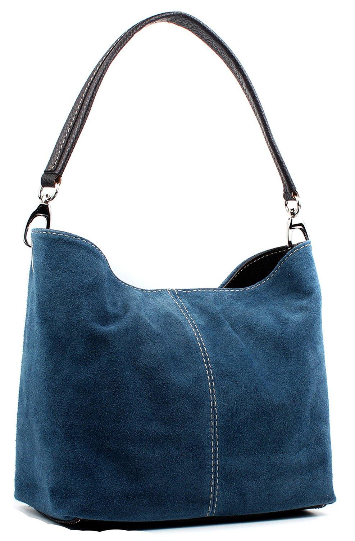 Aossta Ladies Real Italian Suede Leather Small Shoulder Handbag Tote Bag