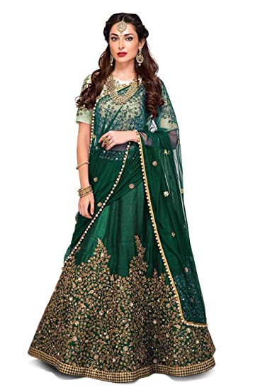 a9d52c2588 Suppar Sleave Women's Tapeta Silk Embroidered Semi-stitched Lehenga Choli  Set (Green, Free Size): Amazon.in: Clothing & Accessories