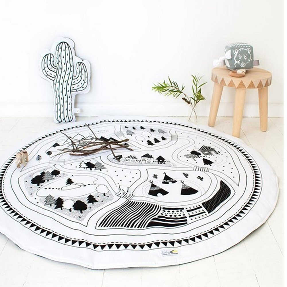 2018 New Kids Game Mats Baby Crawling Blanket Chilren Play Rug Round Racing Games Carpet Kids Room Decorations May Lucky