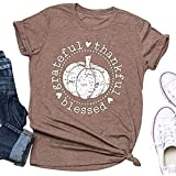 Beopjesk Women's Short Sleeve Thanksgiving Pumpkin Blessed Thanksful T Shirt Funny Casual Graphic Tees Tops