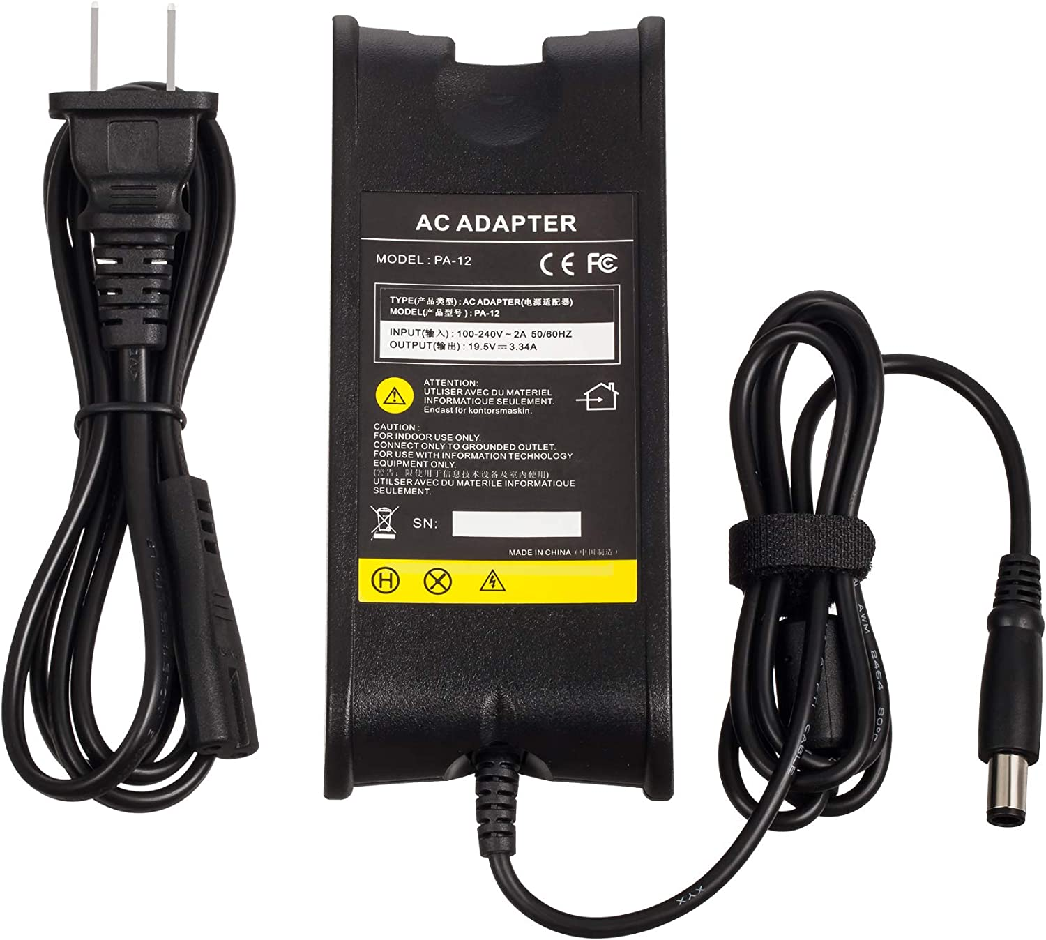 65W 19.5V 3.34A Replacement AC Power Adapter Laptop Charger for Dell Inspiron 1150, 11z, 13, 1320, 1320n, 14, 1410, 1420, 1425, 1427, 1440 and More