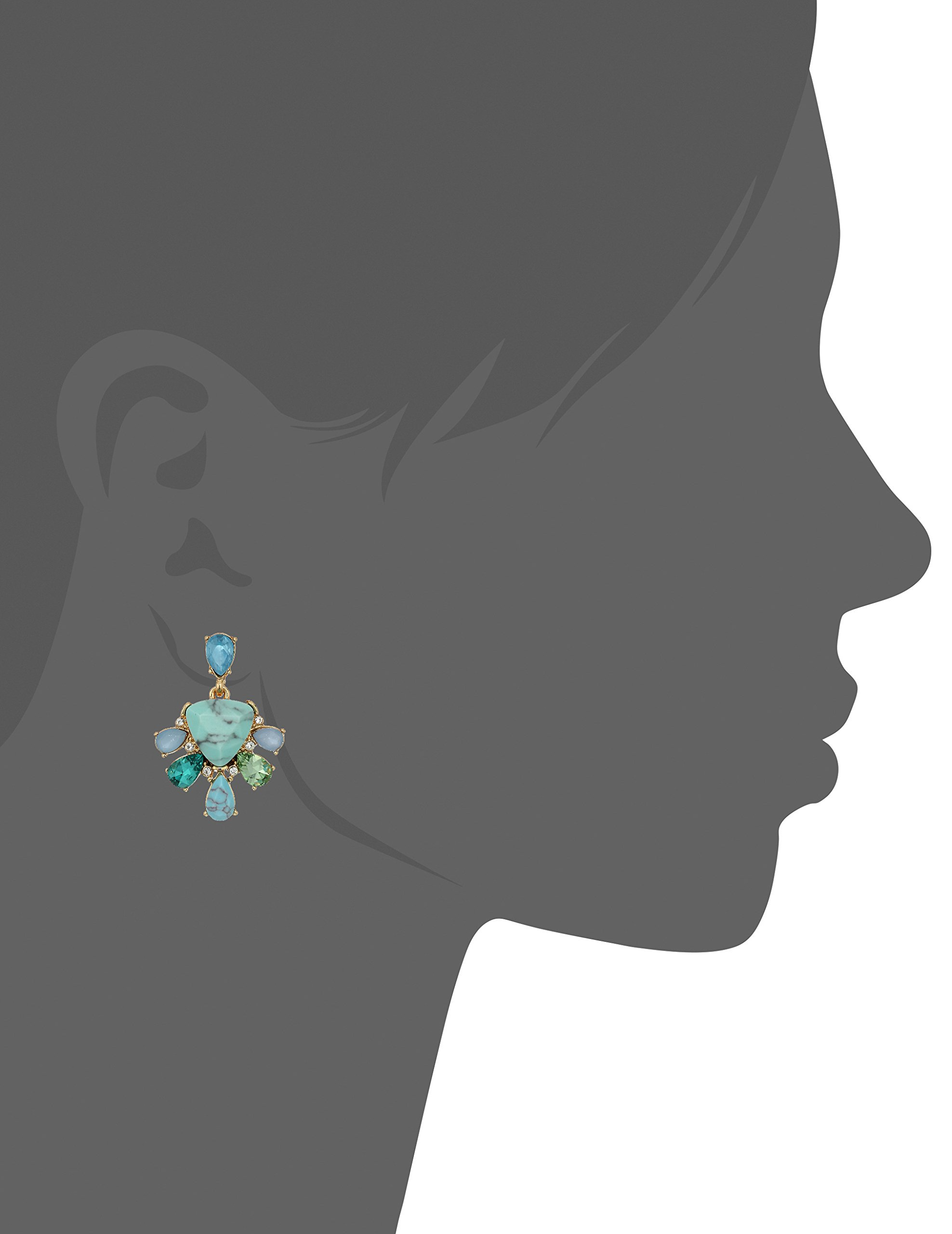 Carolee Turquoise Garden Collection Women's Double Drop Earrings, Gold/Blue Tonal by Carolee (Image #2)