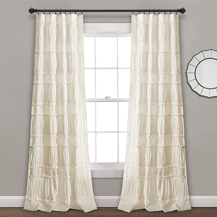 "Lush Decor, Ivory Nova Ruffle Window Curtain Panel Pair, 84"" x 42"""
