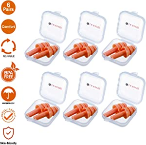 Silicone Ear Plugs, 6 Pairs Waterproof Reusable-Noise-Reduction-Ear-Plugs for Sleeping Swimming Shooting Hunting with Carry Cases by LaKayee