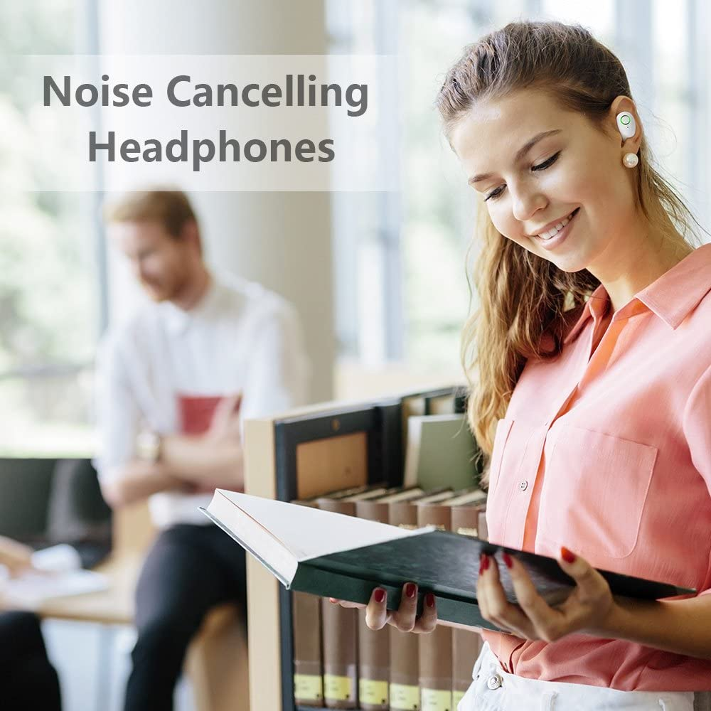 Mezone Wireless Headphones Bluetooth Earbuds Mini Bluetooth Earpiece Noise Cancelling Headphones with Mic and Charging Case Pink Can also be used as Power bank for iPhone and Android Smart Phones