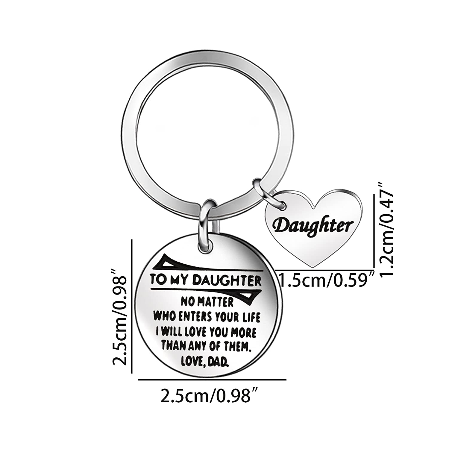 amazon niceter daughter jewelry gifts keychain key ring chain Dar Grave Marking Emblems amazon niceter daughter jewelry gifts keychain key ring chain gift for daughter children heart shape stainless steel pendant jewelry