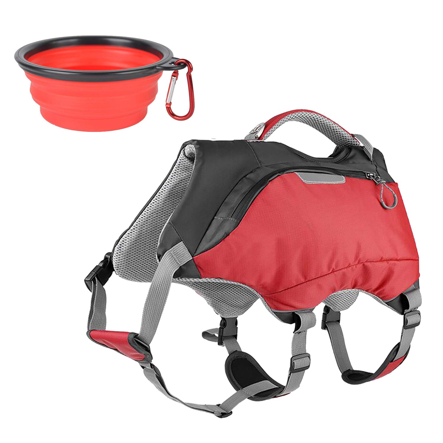 Ultrafun 2 in 1 Dog Life Jacket and Backpack Vest Harness Outdoor Hiking Dog Saddlebag with Collapsible Pet Bowl (Large, Red) by Ultrafun