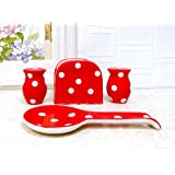Viva Collection, RED Polka Dot Hand Painted Ceramic Table Top Set, 84225/28ack by ACK