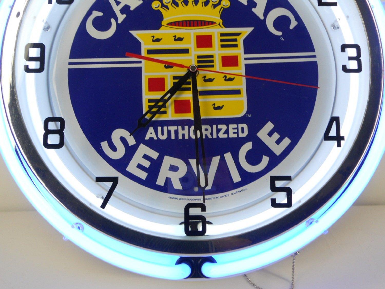 Cadillac 18 Double Neon Clock Service Parts Dealer Garage Log Wiring Diagram Emblem Car Sign Lighting