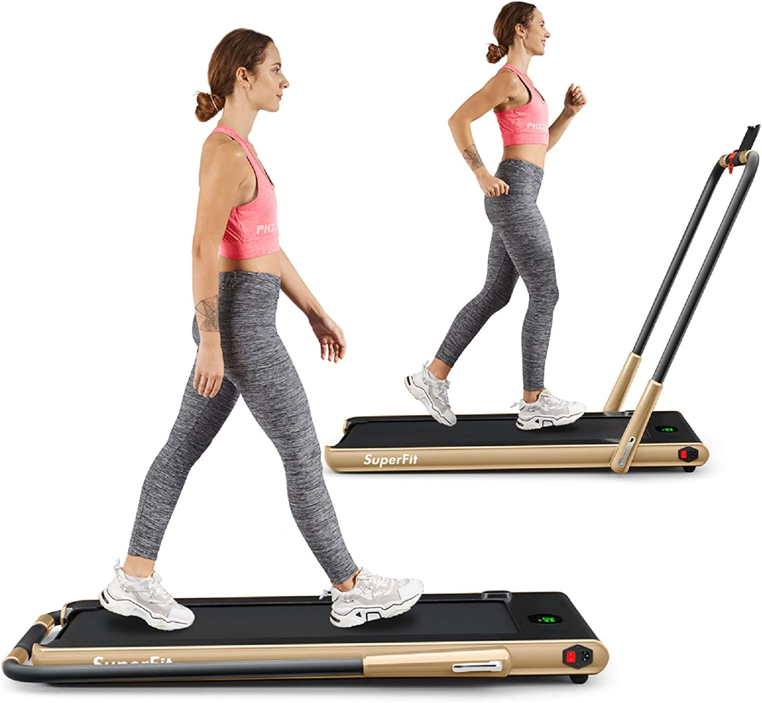 Goplus 2 in 1 Folding Treadmill, 2.25HP Under Desk Electric Treadmill, Installation-Free, with Remote Control, Bluetooth Speaker and LED Display, Walking Jogging Machine for Home Use