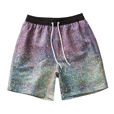 HMKYYJ Pantalones Cortos de Playa de Colores para Hombres ...