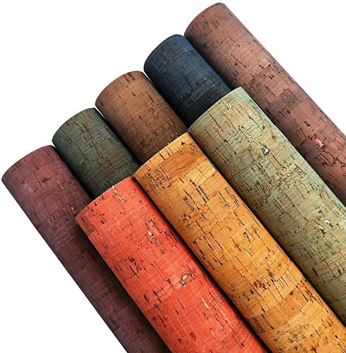 """Amazon.com: ZAIONE Colored Real Cork Fabric Faux Leather Sheets 8pcs 8"""" x 12""""(20cm x 30cm) 0.7mm Thick Soft Stripe Canvas Fabric Backing Durable for Handbag Wallet Shoe Earring Making Meterial DIY Craft"""