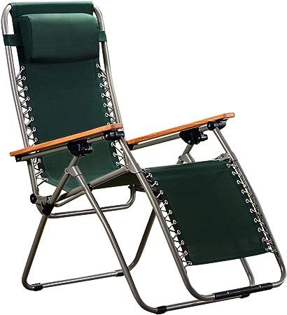 Garden Life Zero Gravity Folding Outdoor Recliner ChairSun Lounger Steel Frame, Wooden Arms (Pack of 1, Green)