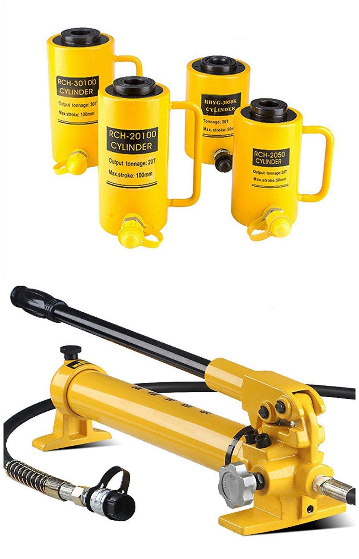 CGOLDENWALL 油圧式ジャッキ20t  中空 プランジャー  50㎜ 100㎜  焼付塗装  張力 スラスト可ジャッキ ポンプ付 (RCH-2050) B074WMRQMC RCH-2050