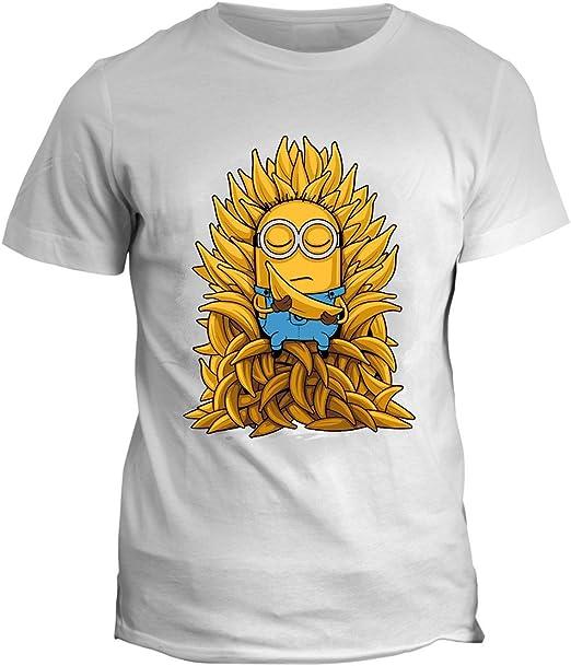 fashwork Camiseta Game of Minions – Trono de plátanos – Minion Camiseta Thrones – The King of Banana Camiseta Hombre Mujer Niño, Bianco: Amazon.es: Deportes y aire libre