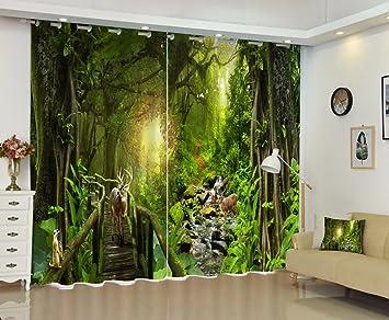 Chlwx Tree Forest Rotwild Luxus 3D Gardinen Set Für Betten Wohnzimmer Büro  Hotel Home Wand