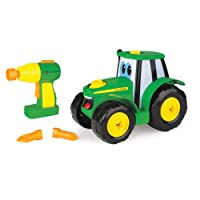 John Deere Tomy Bau-dir-deinen-Johnny-Traktor - Kinder Traktor zum Selbstbauen / Hochwertiger Traktor für Kinder ab 18 Monaten zum Spielen und Sammeln