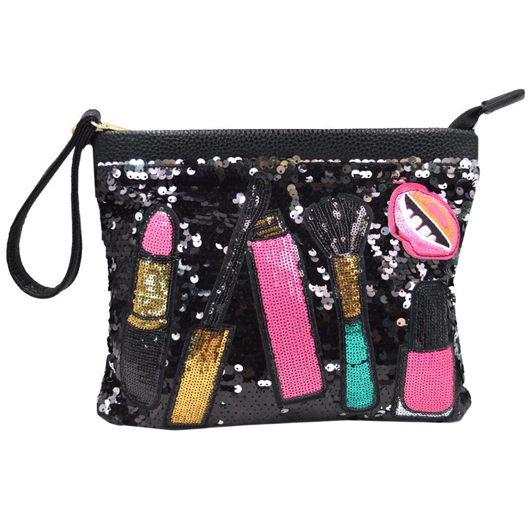 Orfila Patchwork Sequin Clutch Purse Envelope Wristlet Bag Fashion Shoulder Handbag Crossbody Bags for Women Black