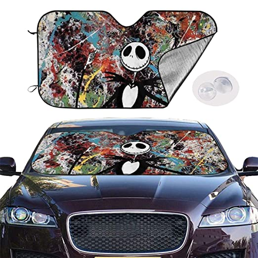 Hguftu5du The Nightmare Before Christmas Universal Windshield Sunshade 27.5x51 Inch Car Sun Visor Seat Sunscreen