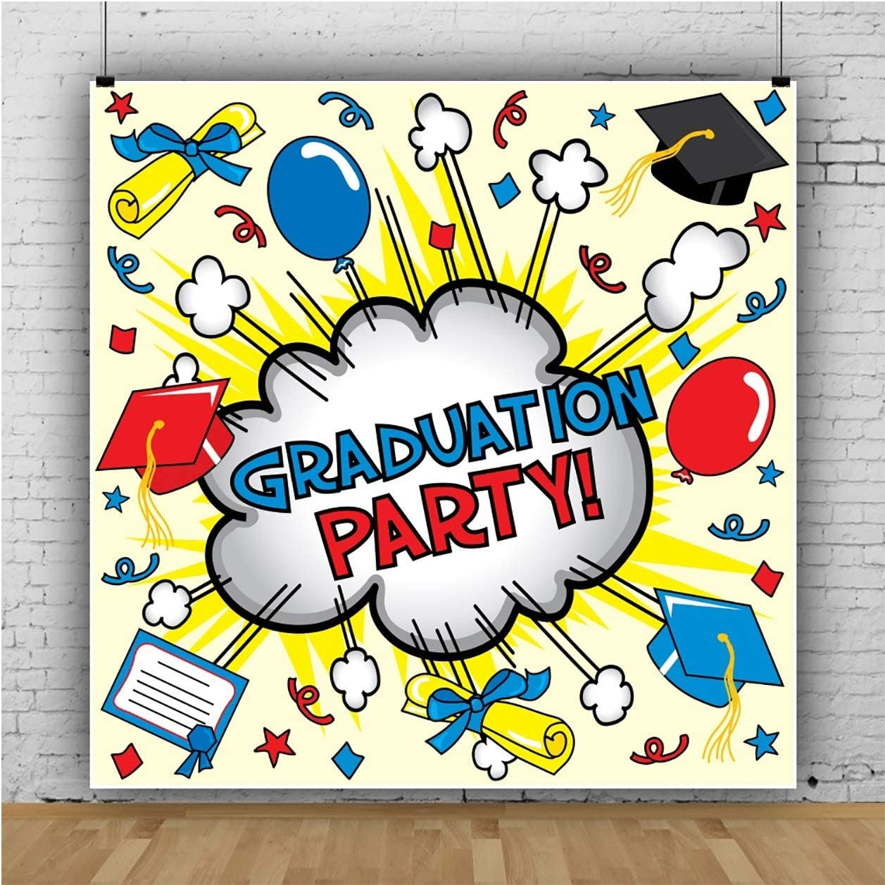 6x6FT Vinyl Photography Backdrop Graduation Party Superhero Themed Boom Graduation Caps Diploma Paper Background Event Graduation Party Decoration Portrait Shoot Studio Photo Booth Props