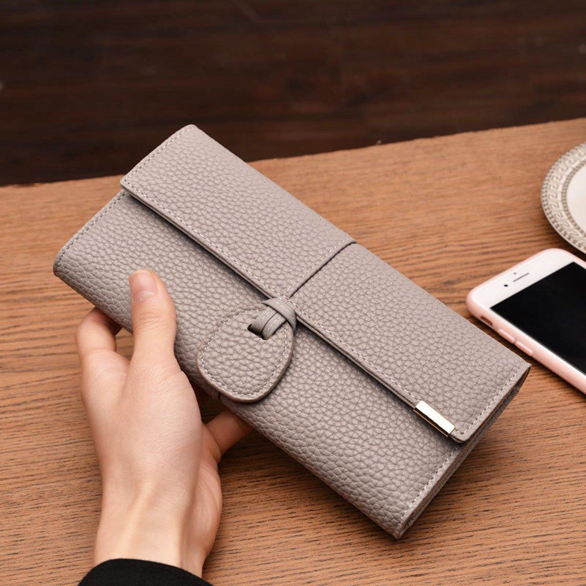 Rfid Blocking Leather wallet for women Girls,ladies long purse Large Capacity(Grey) by YOTOO (Image #3)