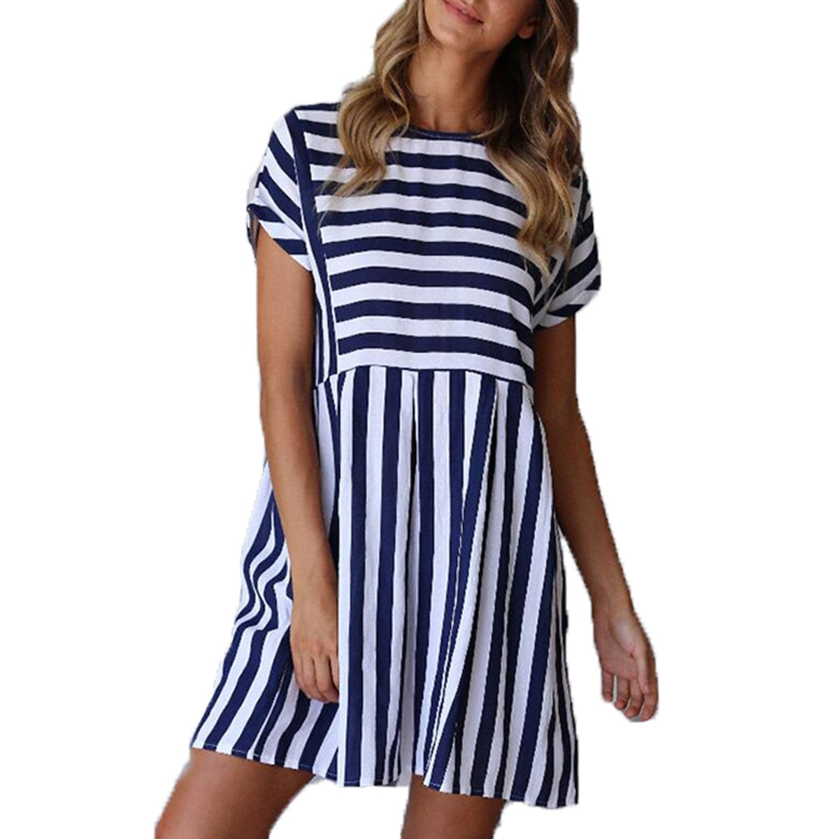 a8d8d1347ec7 ChongXiao Cute Dresses for Women Short Casual Cute Short Sleeve Mini Summer  Striped Dress