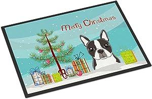 Caroline's Treasures BB1575JMAT Christmas Tree and Boston Terrier Indoor or Outdoor Mat 24x36, 24H X 36W, Multicolor