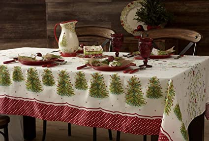 the pioneer woman holiday tree tablecloth holiday christmas soft printed quality sateen 52 x 70quot - Pioneer Woman Christmas