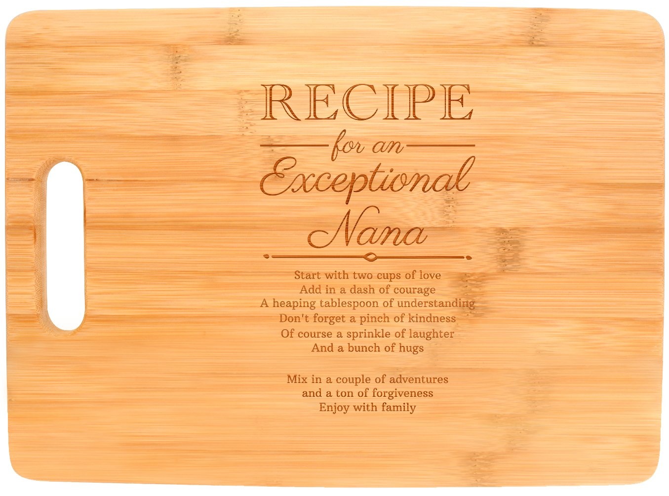 Mothers Day Gifts for Grandma Nana Recipe for an Exceptional Nana Mother Day Gifts Birthday Gifts for Grandma Unique Gifts for Grandma Big Rectangle Bamboo Cutting Board