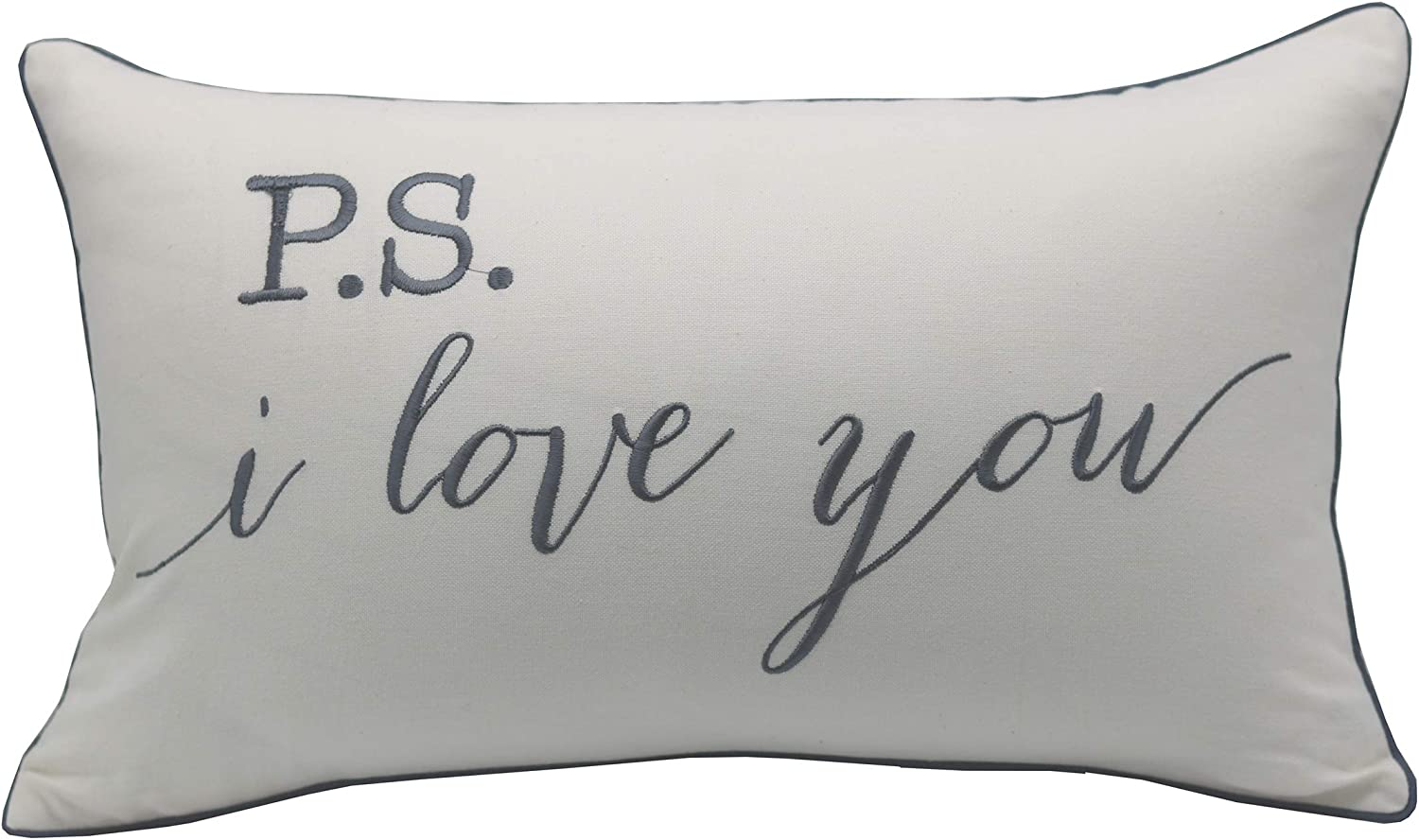Yugtex P S I Love You Embroidered Lumbar Accent Throw Pillow Cover 12x20 Ivory Home Kitchen