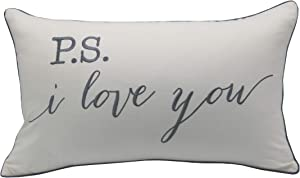 YugTex P.S. I Love You Embroidered Lumbar Accent Throw Pillow Cover - 12x20, Ivory